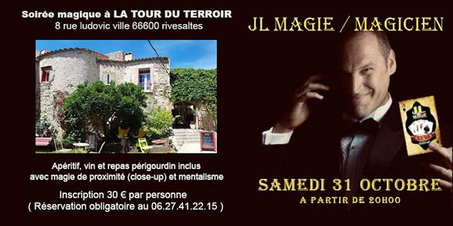 Soirée magie repas Tour Terroir Rivesaltes 66